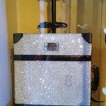 A crystal-studded Samsonite suitcase for the careful traveler!