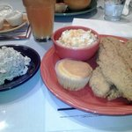 my lunch: fried catfish, corn bread, mac & cheese and seafood salad