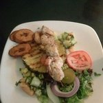 This was a good light lunch. Shrimp with plaintains and fruit salsa
