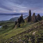 Sunrise on the Old Man of Storr- nearby Beinn Edra