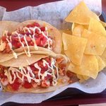lobster and shrimp tacos with corn tortilla chips