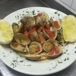 Clams in red sauce.