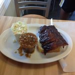 baby back ribs, slaw and baked beans