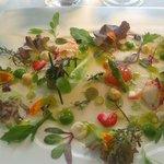 2001 Ensalada de tuétanos de verdura con marisco, crema de lechuga de caserío y jugo yodado