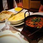 Prawn balti and chicken korma