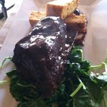 Chili rubbed short rib, polenta, kale
