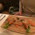 Antipasto con carote e paté di fegato