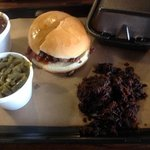 pulled brisket sandwich, beans and grean beans