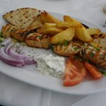 Delicious souvlaki lunch