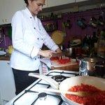 Manuela making sauce for the pasta