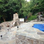 Outdoor spa and firepit
