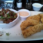 Chicken tenders and red beans with rice