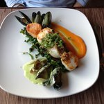 Seared scallops and PEI mussels