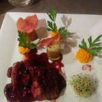 Duck with Red Fruit and vegetables