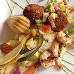Crab cakes & grilled shrimp-n-grits with grilled vegetables with an avocado sauce