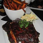 Ribs with sweet potato fries and coleslaw...absolutely delicious