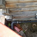 Broken supports on cabin.