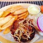 Lackluster lamb burger and fries