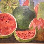 En la casa de Frida Kalo en Coyoacán...una de susu bellas pinturas