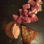 Tasting menu - smoked duck and potato pancake wedge. Ice cream made w ham???  So over the top.