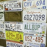 License plate collection on the patio