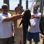 45lbs Cobia caught aboard the Navigator on a 1/2 day fishing trip.