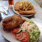 Yum!  Salmon & cod fish & chips.  Fried chicken.