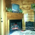Bedroom in lower level of Moose Tracks cabin.