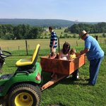Mark with the girls on a tractor ride