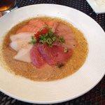Beautfiul sashimi in a wasabi mustard soy sauce