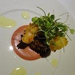 camarão crocante com capaccio de framboesa