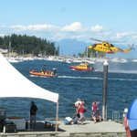 Marine festival display of Search and Rescue vessels and helicopter in Nanaimo Harbour.