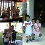 Kids taking pictures with the friendly staff at Qunci Villas