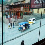 View of the street from Puka Rumi restaurant that's located on second floor, Ollantaytambo