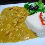 Aji de gallina at Puka Rumi restaurant, Ollantaytambo