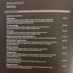 Room Service Menu Breakfast