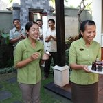 Beautiful staff at Ulin Villas singing Happy Birthday to our daughter!