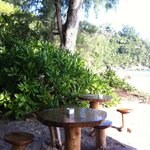 Cute tables at the Rum Shack in Anse Intendance