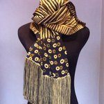 Hand painted silk Shawl in a natural dye ( with a heavy silk tread fringe )