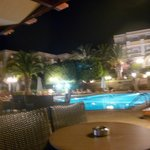 The pool and pool bar at night