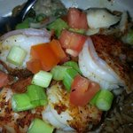 Bienville blackened fish and shrimp