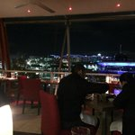 dinning area with a good view on Darling Harbour but in freezing conditions
