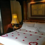 Rooms are decorated with rose petals