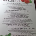 Strawberry themed menu