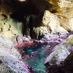 The ocean inside the cave.
