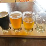 Right to left:  Red Fusion (done), Theodora's Pale (my fav), Stubby IPA, & Marla's Stout