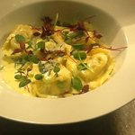 d mushroom tortellini with roasted garlic, spinach and parmesan cream.