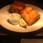 Fresh fish of the day in chef's boozy batter, crushed peas, homemade tartar sauce and hand cut c