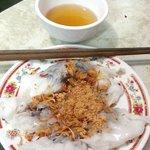 Pork and mushroom in rice flour pancake (I think) :)