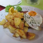 Fried Egg, Schnitzel and Fried Potatoes